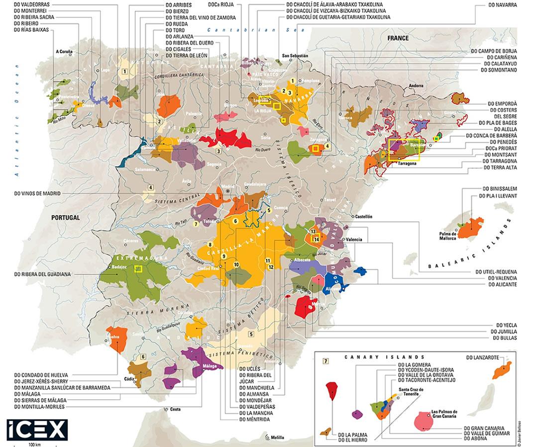 Mapa de las D.O.P.