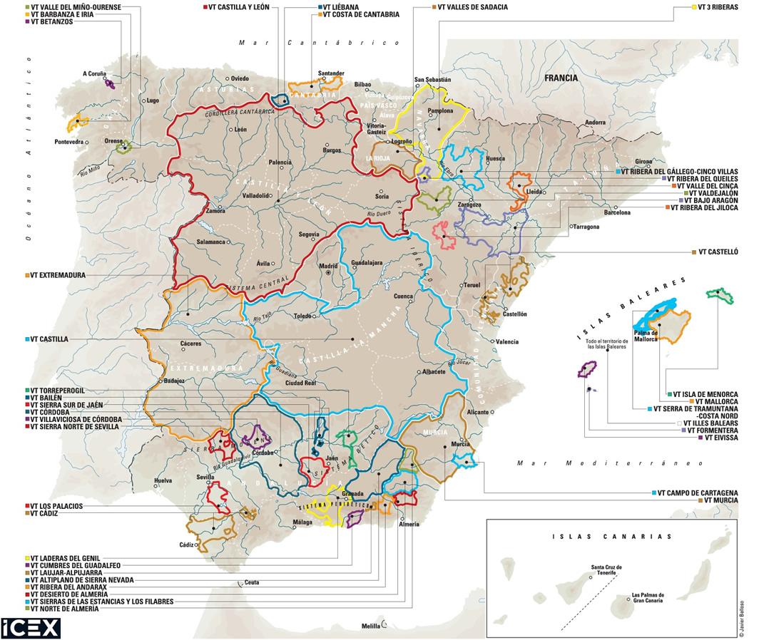 Mapa de las I.G.P.
